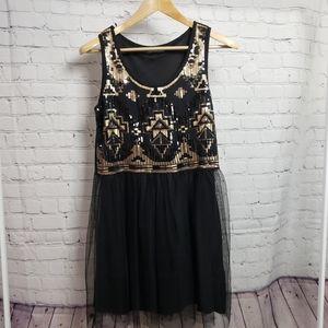 Gold Black Sequin Stretchy Summer Dress Tulle Y2K